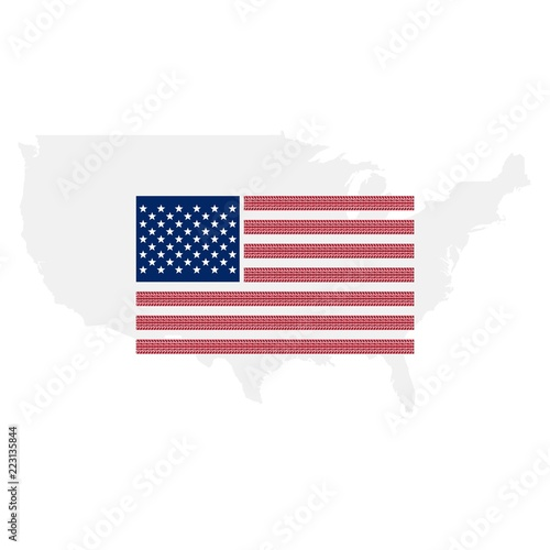 United States of America flag, US map background\
