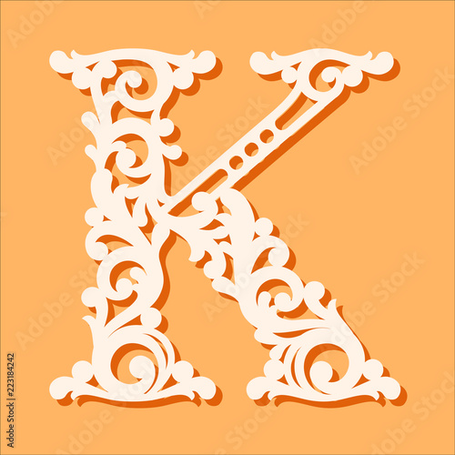 Laser cut template Initial monogram letters Fancy floral alphabet
