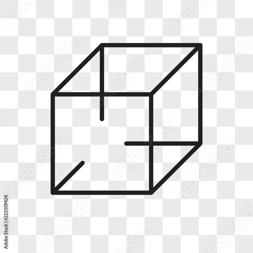 3d cube vector icon isolated on transparent background, 3d cube logo