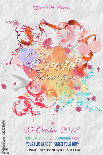 Invitation or event card template with abstract floral background