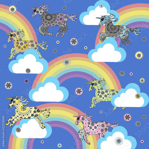 Cute background with cartoon unicorns in the clouds\