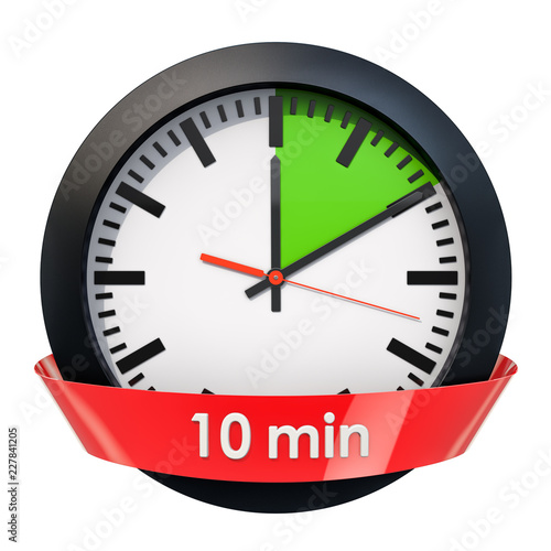 Clock face with 10 minutes timer 3D rendering\