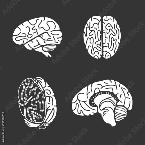 Brain icon set Simple set of brain vector icons for web design on