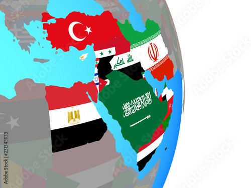 Middle East with national flags on simple political globe\