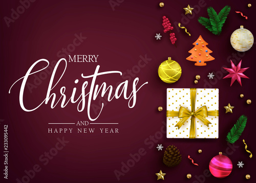 Top View Realistic Holiday Greeting Card with Christmas Elements