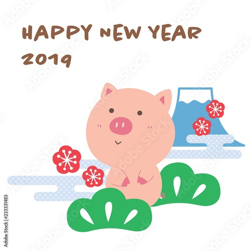 Pig Happy New Year Card 2019 vector Japanese icons Fuji mountain