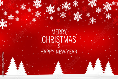 A red christmas background with snowflakes and greetings Merry