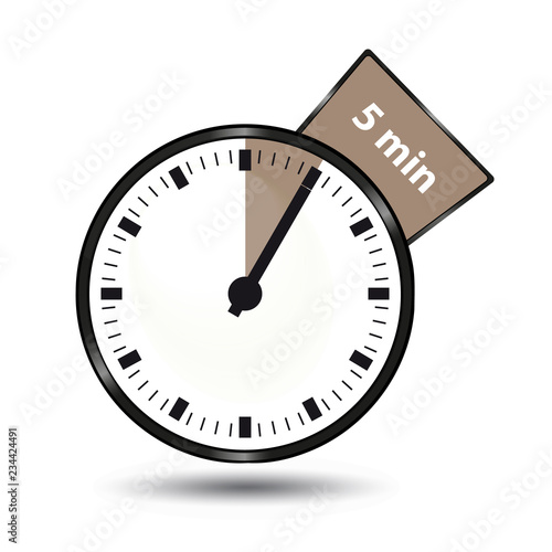 Timer 5 Minutes - Vector Illustration - Isolated On White Background