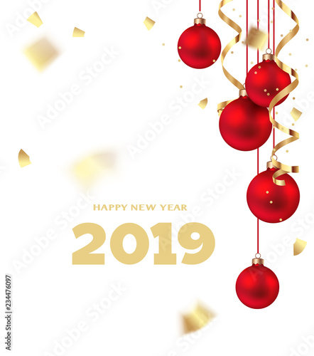 Happy New Year 2019 Christmas design template Holiday white