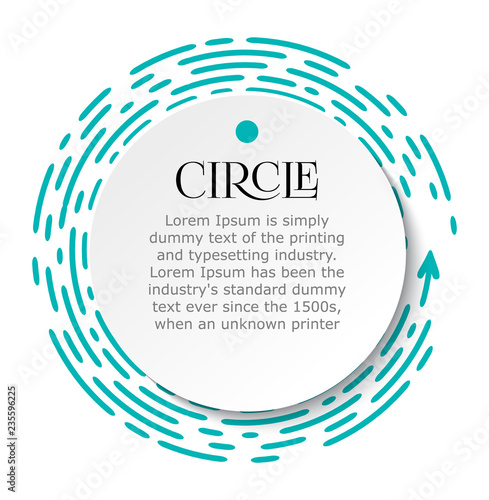 Circle infographic Bright blue dotted line under white sheet of