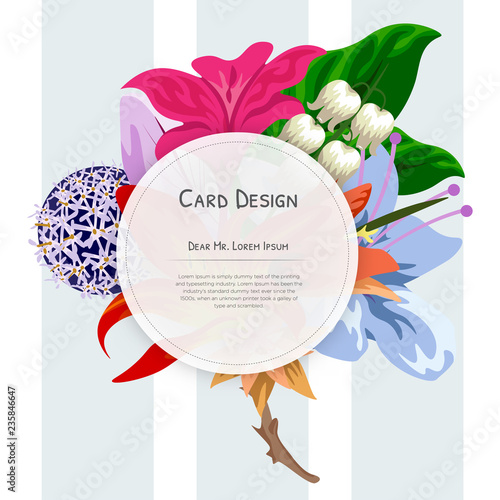 Wedding Event Invitation card design with Tropical flowers, invite