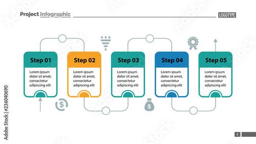 Five steps process chart slide template Business data Flow