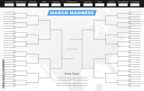 March madness tournament bracket Empty competition grid template