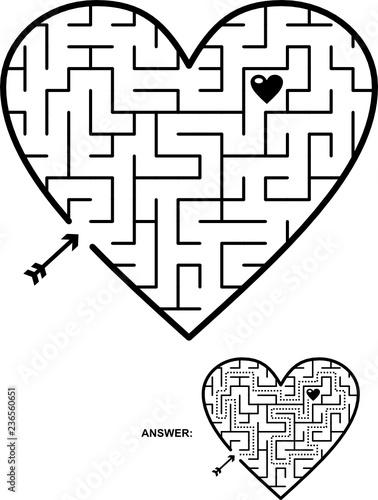 Valentine\u0027s Day, wedding, romantic, etc, themed heart shaped maze