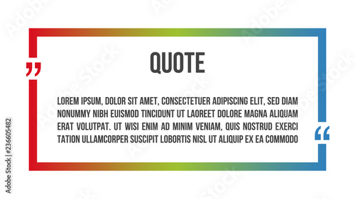 Innovative vector colorful quotation template frame in quote