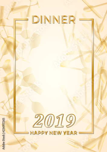 2019, New Year\u0027s Eve dinner, template for poster, cover and menu