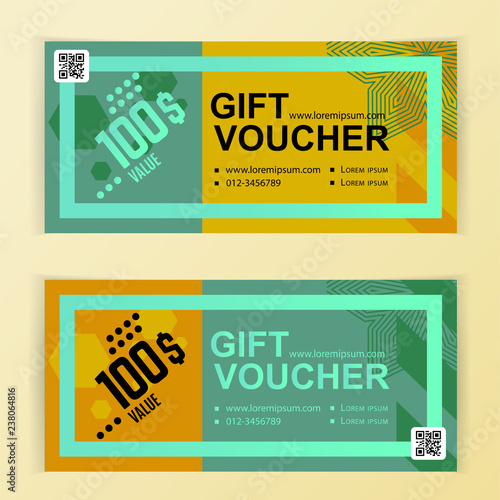 Abstract voucher template Flyer for business Yellow backgrounds