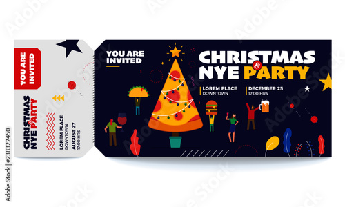Christmas and New Year vector tickets templates Ticket for entrance