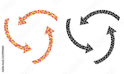 Dotted swirl arrows mosaic icons Vector swirl arrows pictograms in