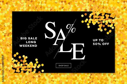 Gold sale background in frame Golden glitter flyer, poster