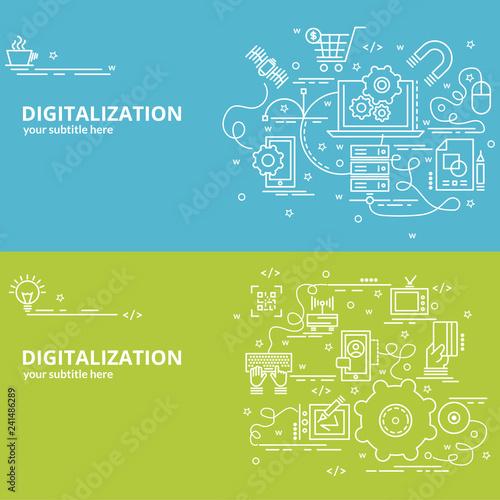 Flat colorful design concept for Digitilization Infographic idea of
