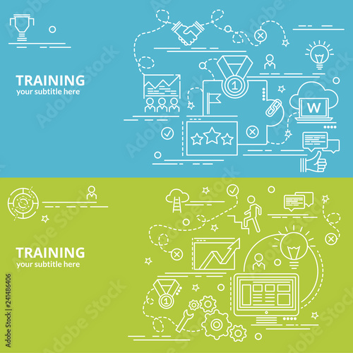 Flat colorful design concept for Training Infographic idea of