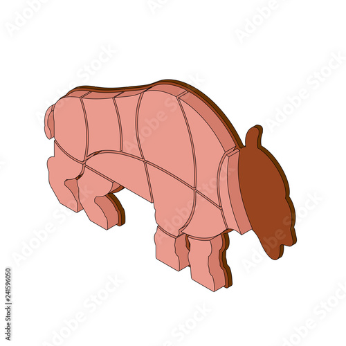 Cut of meat buffalo isometric Bison silhouette scheme lines of