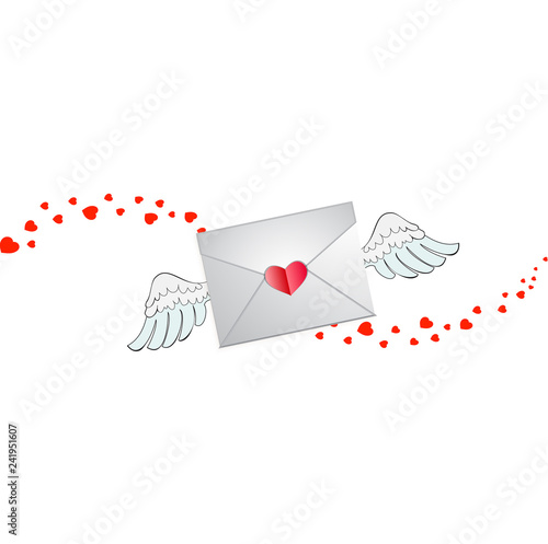 envelope with heart stamp, white angel wings and hearts wave\