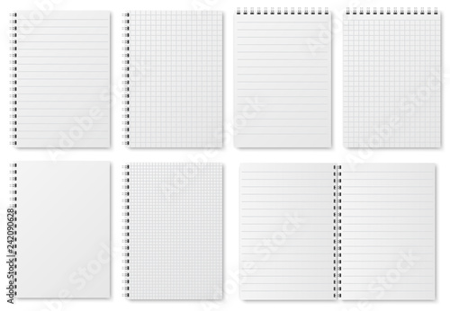 Notebook paper sheets Sketchbook blank pages with variety of lines