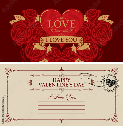 Two sides of a Valentine card or postcard with a red heart and roses
