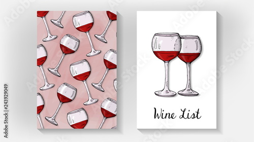 Vector Illustration of Wine List Template with Wine Glasses Sketch