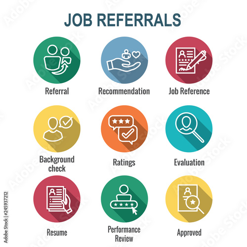 Referral Job Reference Icon Set with recommendations, performance