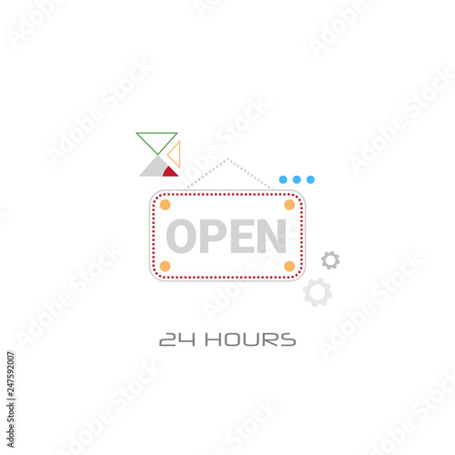 open door text sign shop label shopping concept line style isolated