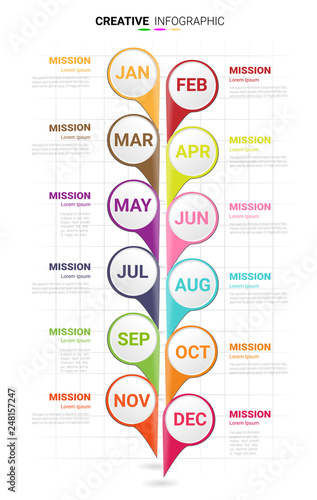 Time line for 1 year, 12 months, Timeline infographics design vector