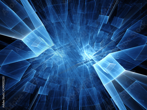 Abstract blue and black background Fractal graphics 3d illustration