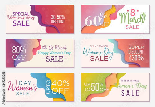 Collection of six sale banner templates to Womens Day Special