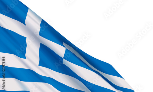 Background with a realistic waving Greece flag on white background