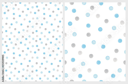 Cute Hand Drawn Abstract Brush Irregular Dots Vector Pattern Set