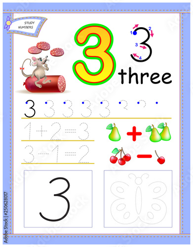 Educational page for kids with number 3 Draw the contour and paint