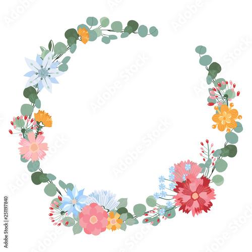 Round Frame for Cards Design Vector Floral mix wreath vector design
