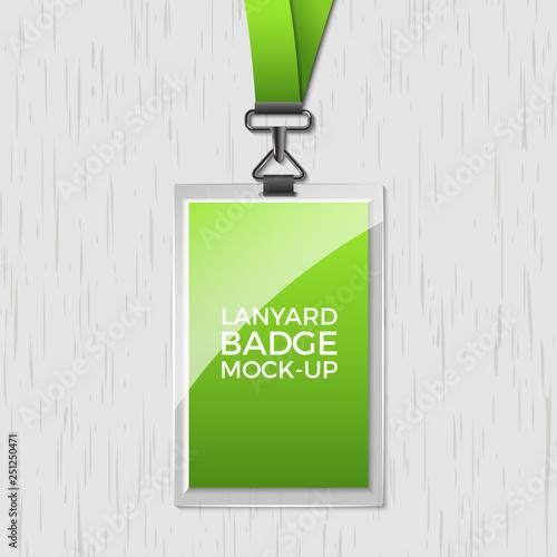 Lanyard badge id card template Blank identity lanyard plastic and