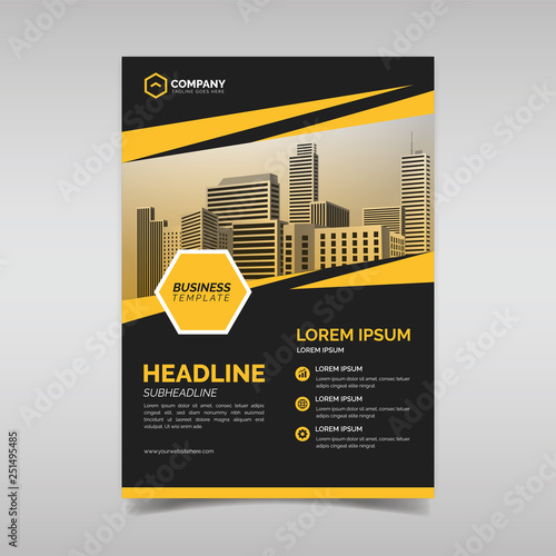 Black and yellow business flyer design template\
