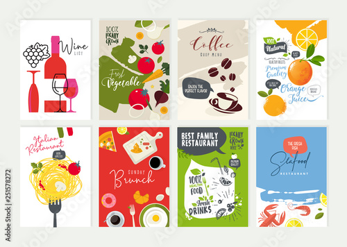 Set of restaurant menu, brochure, flyer design templates Vector