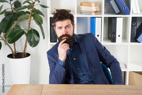 Answer common interview questions Man bearded hr manager sit in