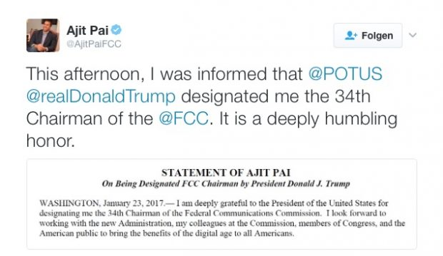 Ajit Pai (Screenshot: Twitter/Pai/t3n)