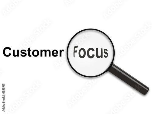 magnifying glass on customer focus\