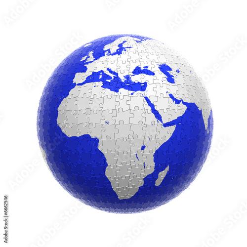 earth globe puzzle isolated\