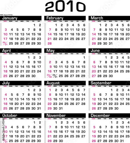 Calendário 2010 - Year 2010 - Calendar\