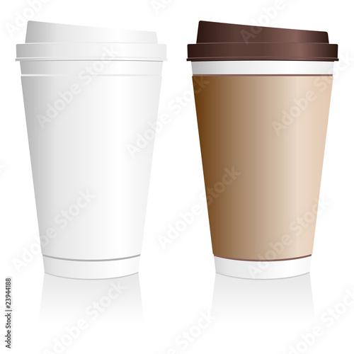 Plastic coffee cup templates over white background\