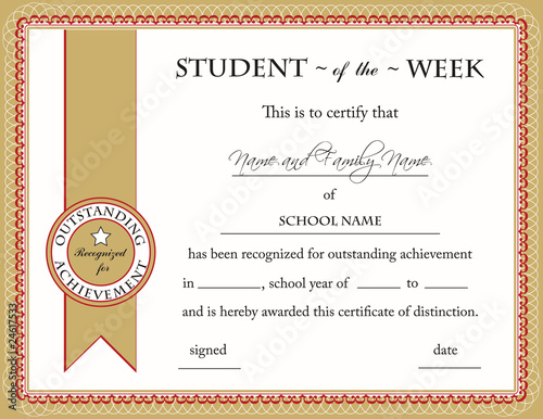 Student of the Week Certificate\ - certificate of achievement for students
